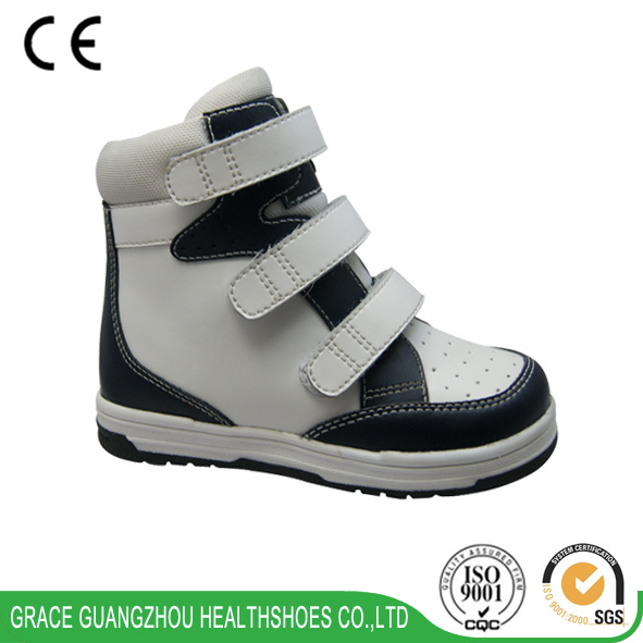 Children Orthopedic Support Breathable Leather Shoes with Firm Heel Counter