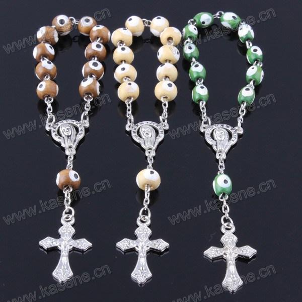 Wholesale Wood Beads Cross Bracelet Religious Bracelet Chain Bracelet