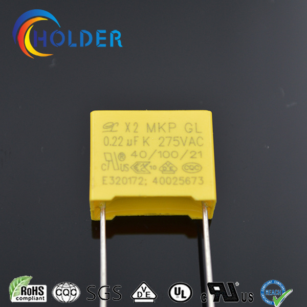 Metallized Polypropylene Yellow Box Film Capacitor (0.22UF 275VAC X2 MKP) /All Series RoHS Reach