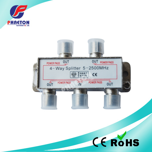 4 Way Indoor CATV Satellite Splitter 5~2500MHz