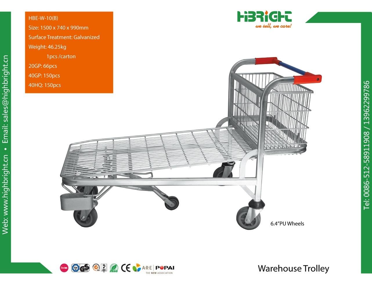Supermarket Metal Logistic Foldable Warehouse Trolley Platform Cart