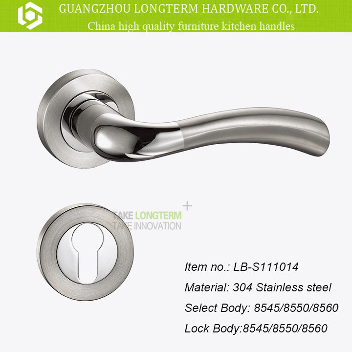 304 Stainless Steel Mortise Door Handle with Lock