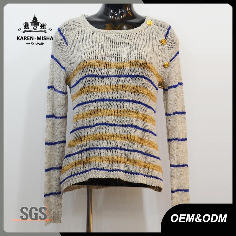 Women Fashion High Quality Striped Knitwear