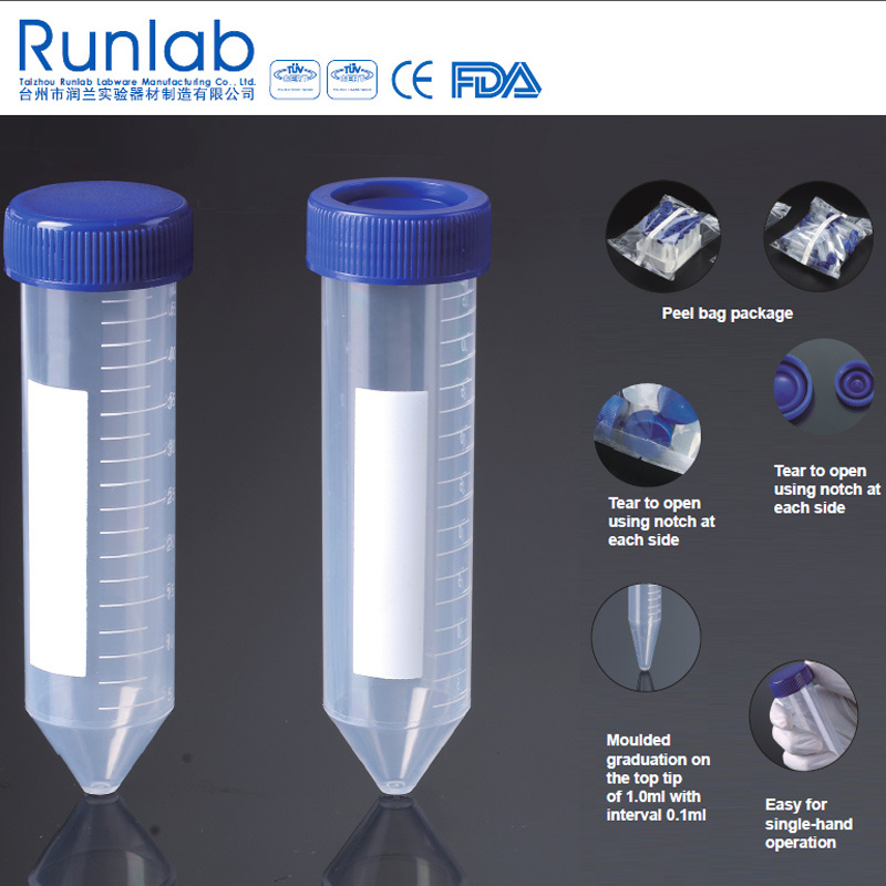 FDA and CE Approved 50ml Conical-Bottom Centrifuge Tubes with Printed Graduation in Peel Bag Pack