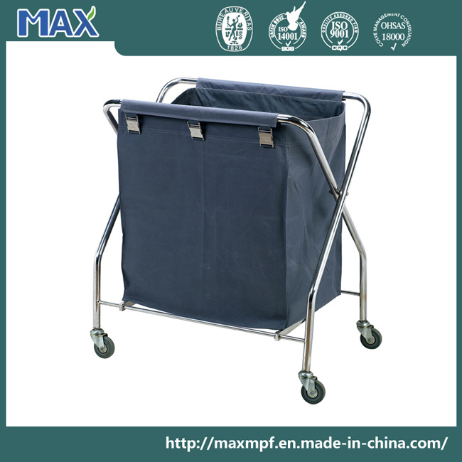 China Hotel Hamper Metal Folding Basket Clothes Maid Serving Trolley Laundry Cart
