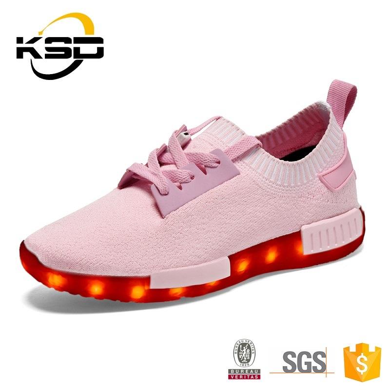 Kid Sneaker LED Light up Shoes Flyknit Shoe Light for Children