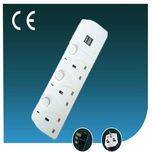 Three Ways British Electrical Power Socket with USB and LED