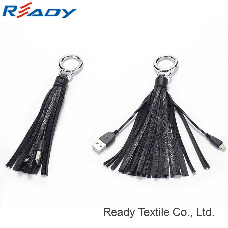 2017 New Design Black Genuine Leather Tassel Keychain USB