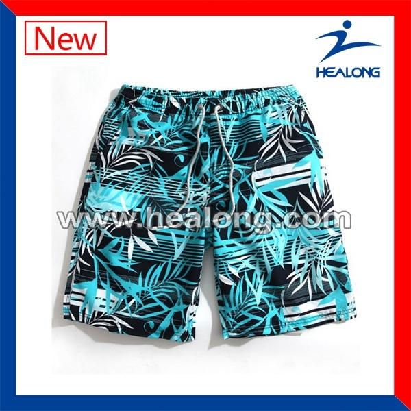Healong Top Sale Customized Sportswear Sublimation Printing Beach Shorts