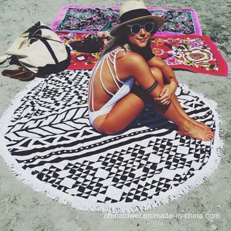 Reactive Printed Round Velour Beath Towel