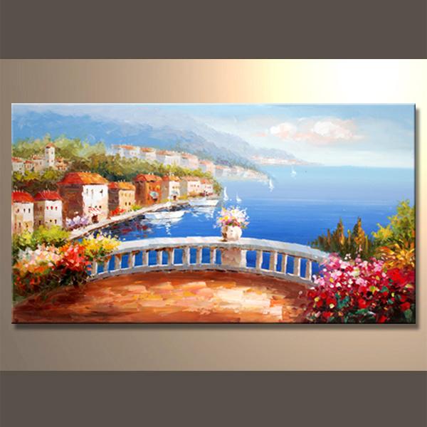 Pintura al óleo hecha a mano del paisaje marino para la decoración