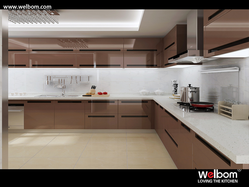 China Modern Dark Brown Kitchen Cabinets Painted Photos & Pictures