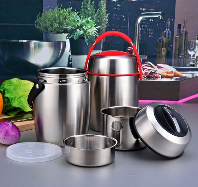 Double Layer Stainless Steel Double Wall Lunchbox (SB-010)