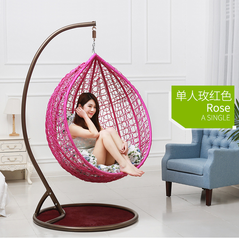 Pink Factory Outdoor Swing, Rattan Furniture, Indoor Egg Hanging Chair (D011)