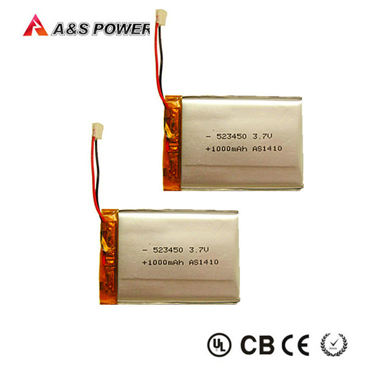 UL 3.7V 800mAh 900mAh 1000mAh Lithium Polymer Battery with Connector