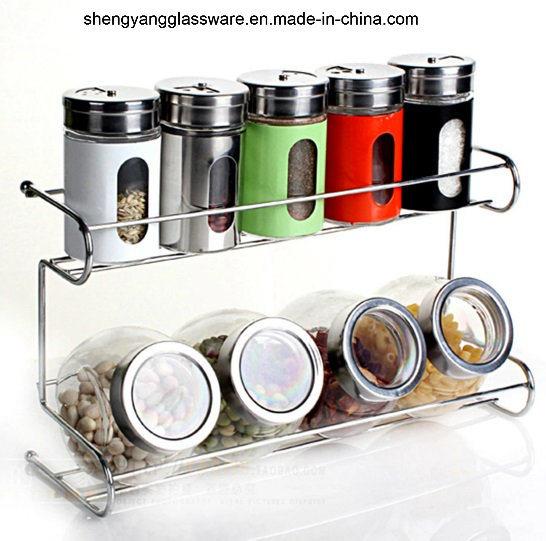 9 PC Spice Glass Bottle Set with Metal Shelf