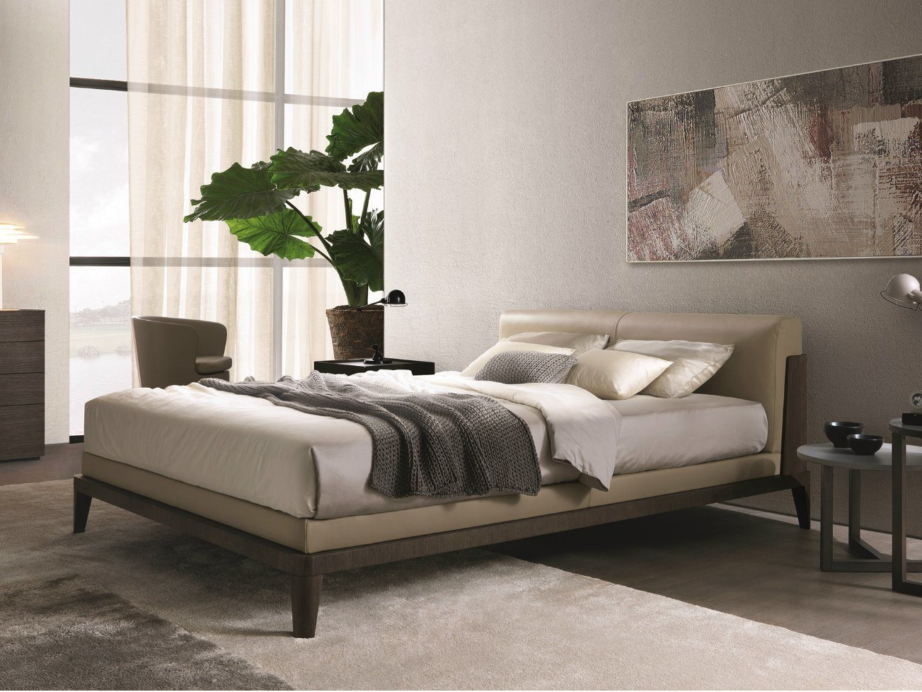 modern Nordic Simple Leather Fabric Bed Home Hotel Bedroom Furniture