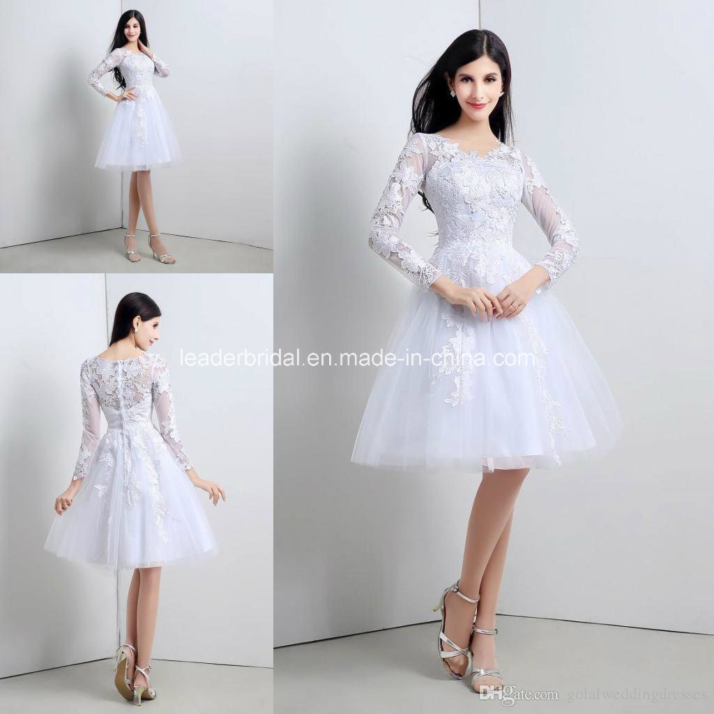 China Short Bridal Gowns Long Sleeve Lace Cocktail Wedding Dresses Z8020 Photos Amp Pictures