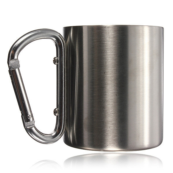 18-8 Stainless Steel Coffee Mug Camp Camping Cup Carabiner Hook Double Wall BPA Free Mug Outdoor Mug
