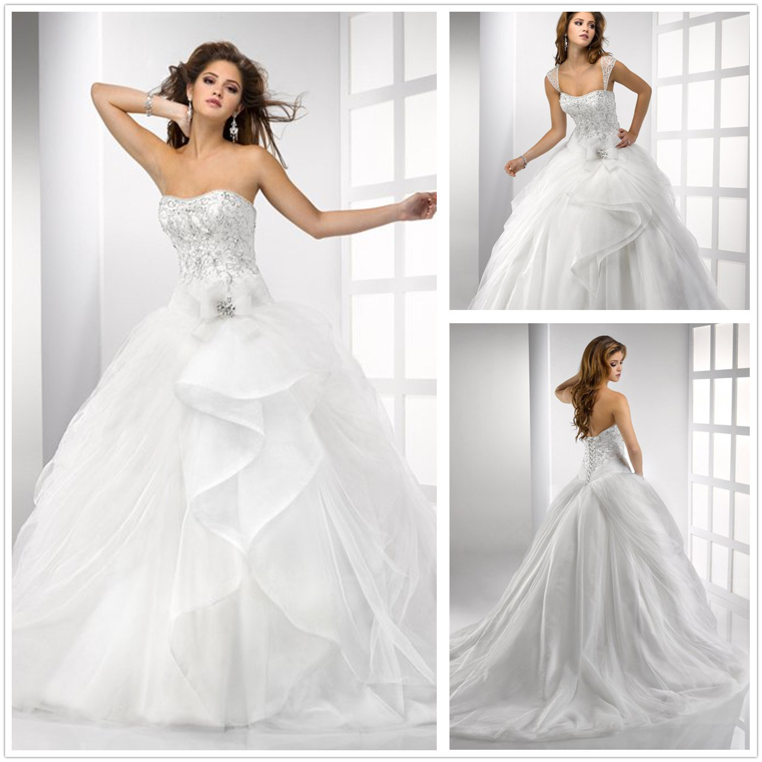 Gorgeous Embroidery Bodice Ball Gown Wedding Dress with Removable Strap (XZ615)