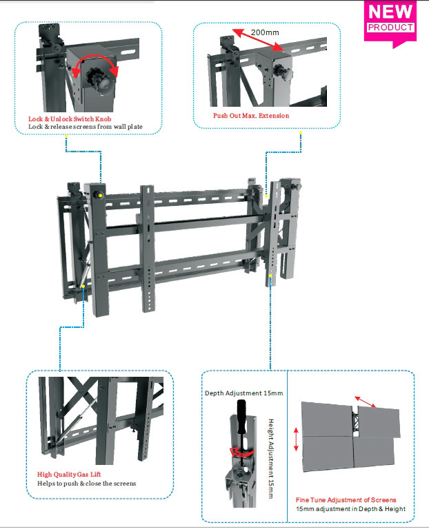 Video Wall Mount / Bracket Push Fine Tune Max 600*400
