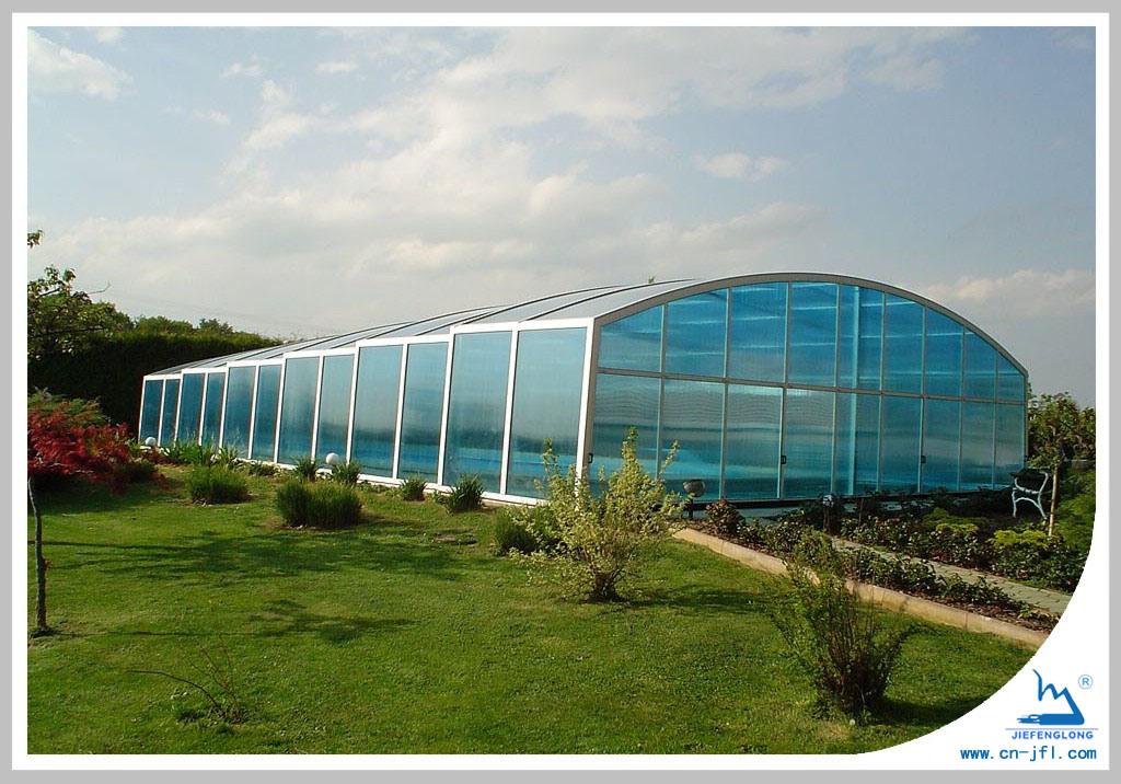 China greenhouse swimming pool polycarbonate sheet jfl for Swimming pool greenhouse