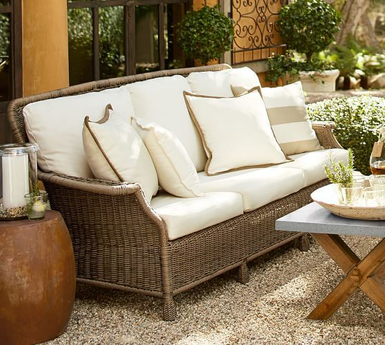Well Furnir Wicker Garden Furniture 4 Piece Deep Seating Group with Cushions