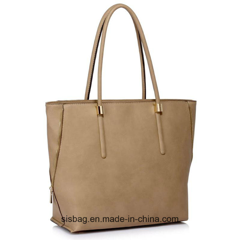 High Quality Taupe Zipper Detail Shoulder Bag
