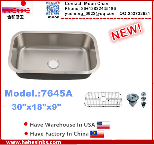 Stainless Steel Kitchen Sink Undermount Single with Cupc Certification