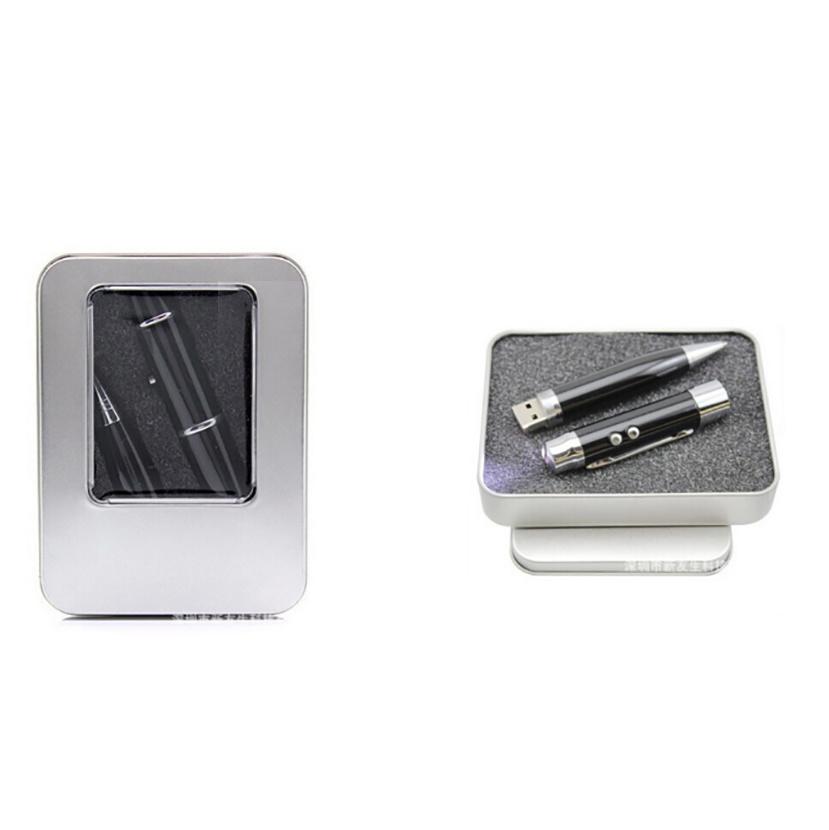 2 in 1 Metal 32GB Laser Ballpoint Pen USB Flash Drive Pendrive