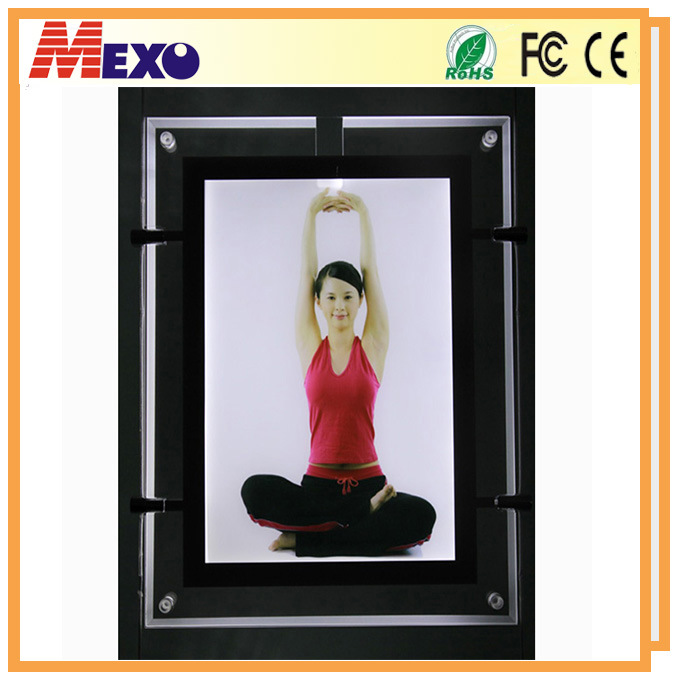 Ceiling Hanging Crystal Photo Frame Slim LED Light Box with Magnetic Open
