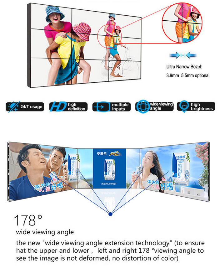Narrow Bezel 55 Inch LED LCD Video Wall with High Quality (MW-553VAC)