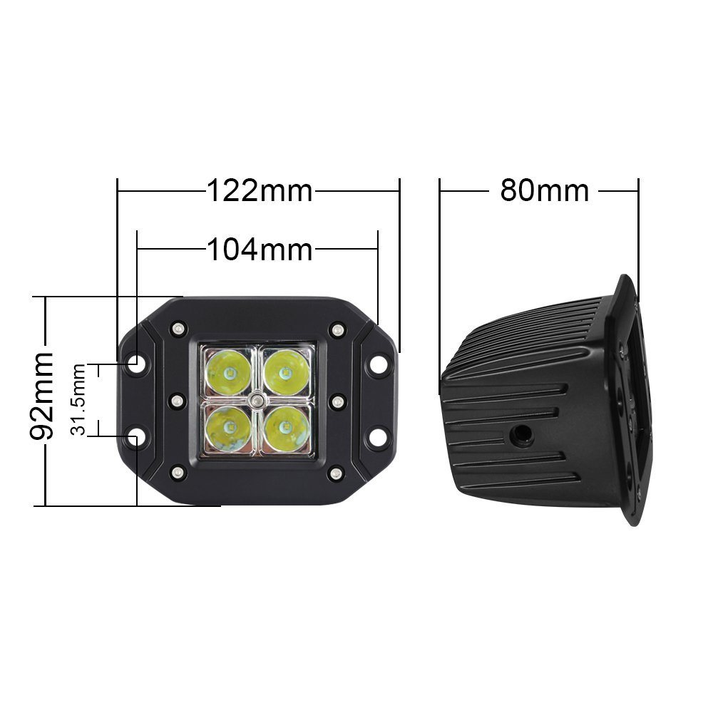 off-Road Auto and Motorcycle Parts 3 Inch 12W 6000k 1440lm Spot Flood LED Work Light