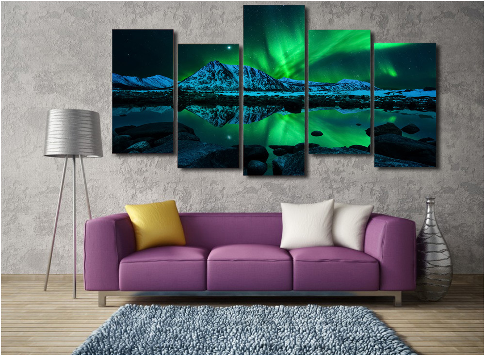 HD Printed Aurora Borealis Painting on Canvas Room Decoration Print Poster Picture Canvas Wall Art Mc-003