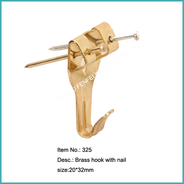 Quality Brass Plated Standard Picture Hooks (322-325)