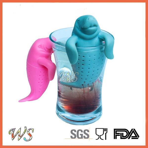 Ws-If052 Manatee Tea Infuser Set Silicone Tea Filter Leaf Strainer Food Grade