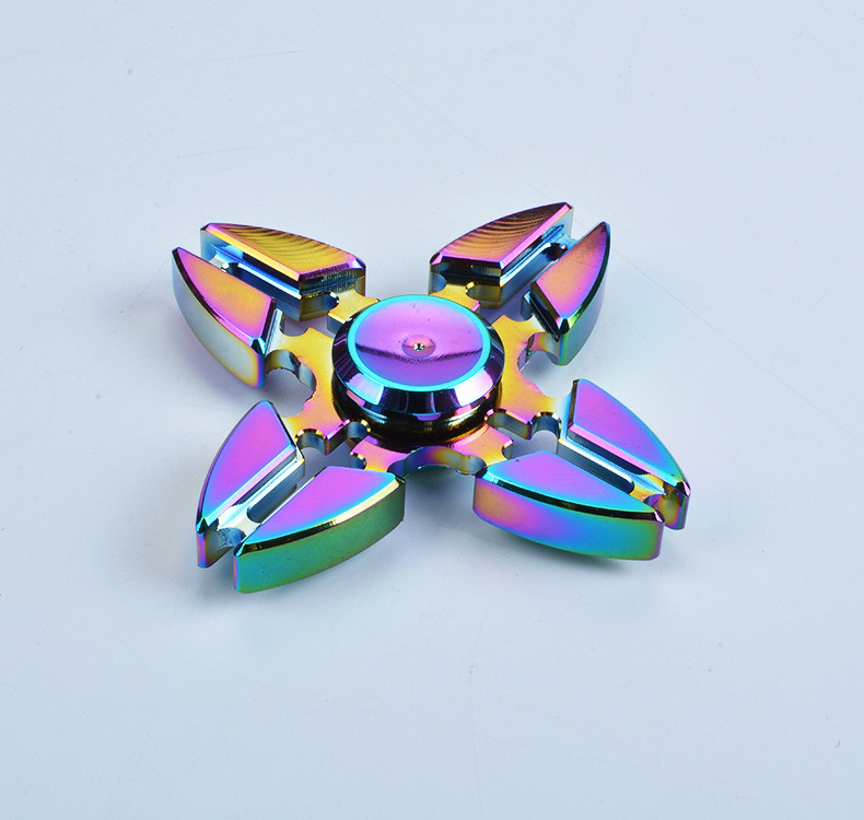 4 Sided Zinc Alloy Colorful Rainbow Crab Claw Hand Spinner