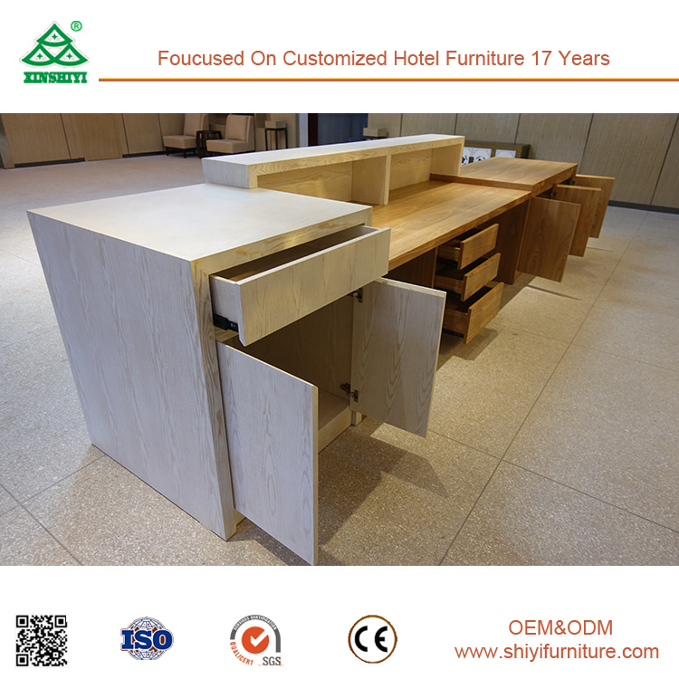 Customized Ash Wood Natural Color Reception Desk