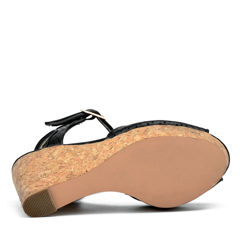 2017 Lady Hollow-out High Heels Women Casual Cork Wedge Sandals