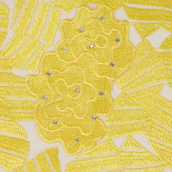 Yellow Color Soft African Lace Embroidery Fabric for Wedding Dress