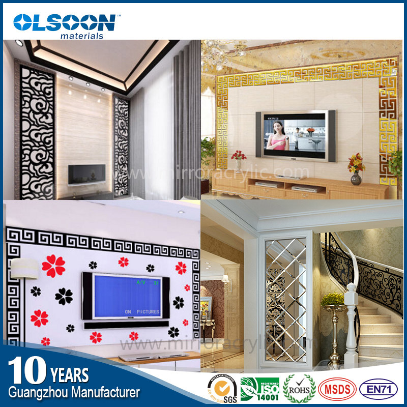 Olsoon Custom Design Acrylic Home Wall Decoration Decorative Mirror Decor