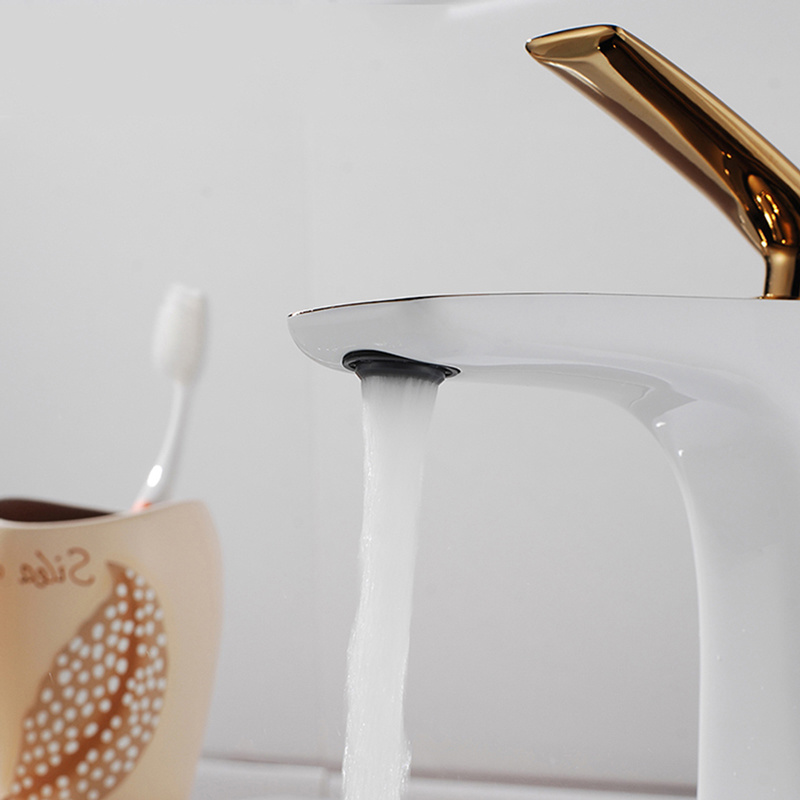 Flg Grilled White Painted & Golden Plated Basin Waterfall Faucet