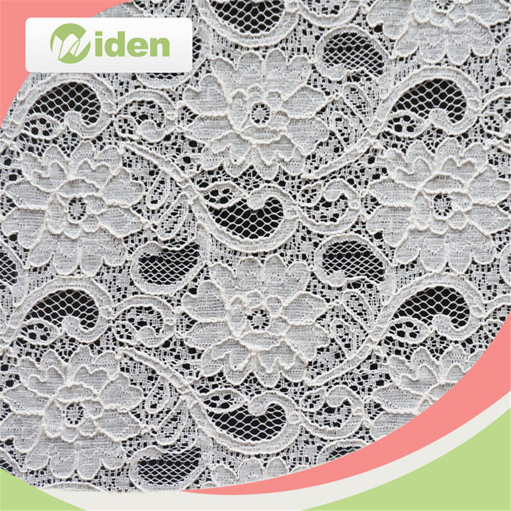 White Knitted African Wholesale Jacquard Nylon Cord Lace Fabric