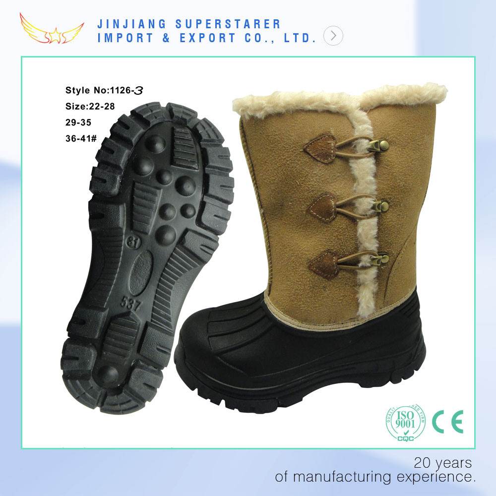 Fashion Waterproof Sheepskin Women Winter Boots with Triple Toggle Closure