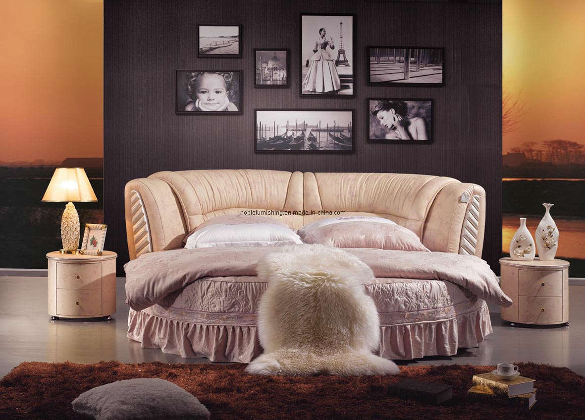 china leather round bed k02 china leather bed round