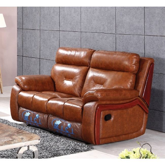 Luxury Wood Trim Italian Leather Recliner Sofa 6041m