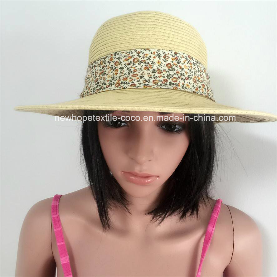 100% Straw Hat, Fashion Floppy Style with Ball Band / Flower / Chiffon Fabric Style