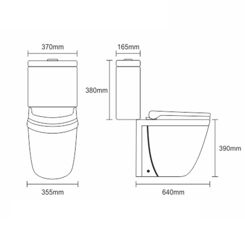 3/6L Washdown Two Piece Wc Bathroom Ceramic Toilet