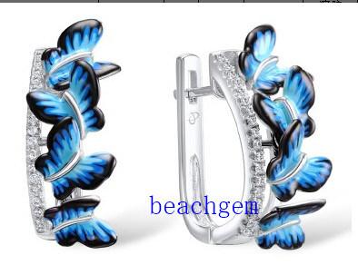 Butterfly Sterling Silver Epoxy Resin CZ Earrings (E308015)