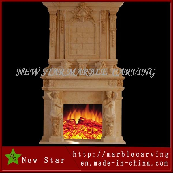 Double Side Fireplace Surround/ Overmantel in White Marble